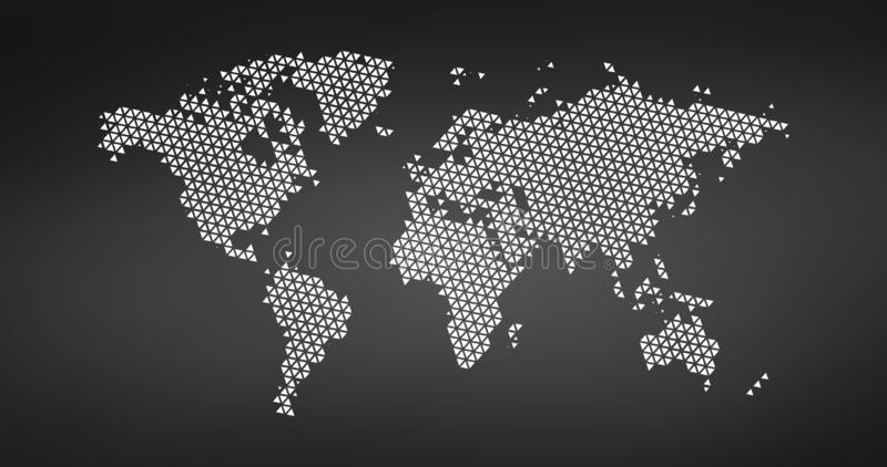 Black halftone triangle dotted world map. Vector illustration. Dotted map in flat design. Vector illustration isolated on black. Black halftone triangle dotted vector illustration