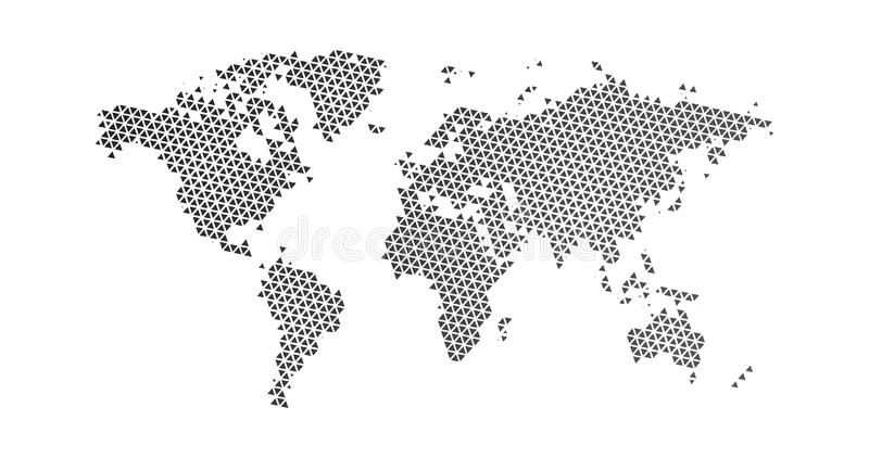 Black halftone triangle dotted world map. Vector illustration. Dotted map in flat design. Vector illustration isolated on white. Black halftone triangle dotted royalty free illustration