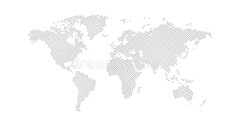 Black halftone triangle dotted world map. Vector illustration. Dotted map in flat design. Vector illustration isolated on white. Black halftone dotted world map vector illustration