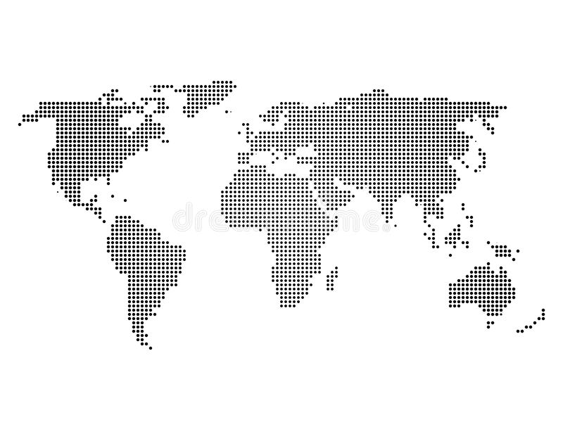 Black halftone world map of small dots in linear arrangement simple download black halftone world map of small dots in linear arrangement simple flat vector illustration gumiabroncs Image collections