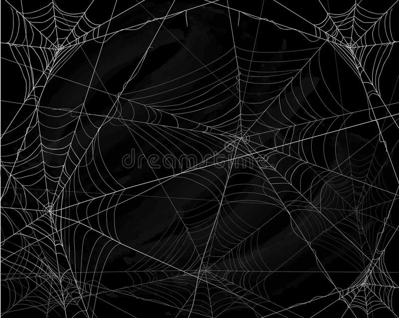 Black Halloween background with spiderwebs royalty free illustration