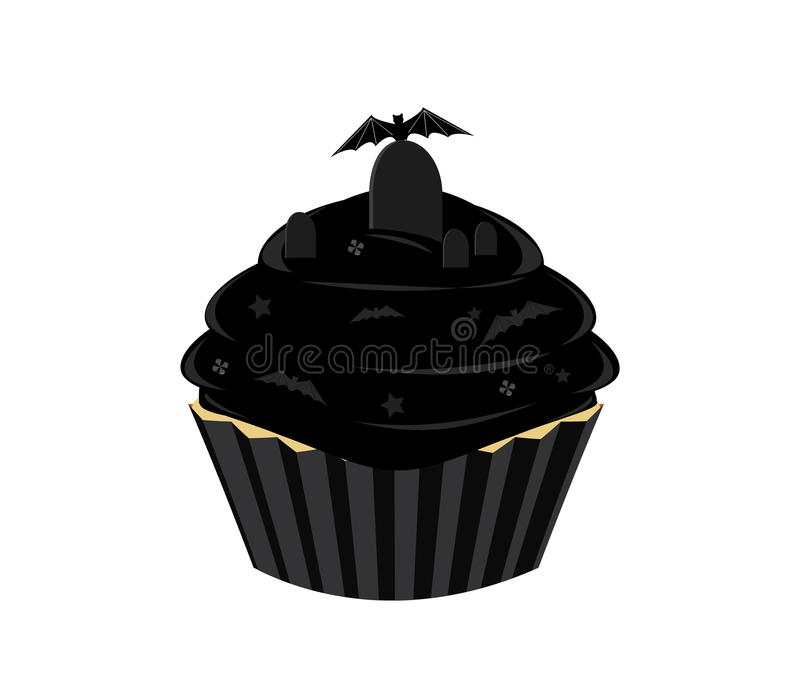Black Halloween cupcake stock illustration