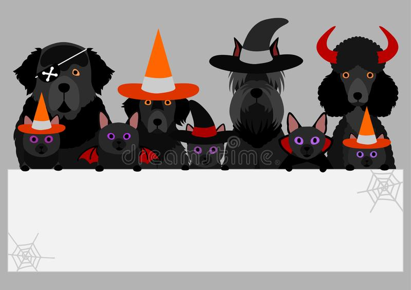 Black halloween dogs and cats with white board. Cute pets banner for halloween royalty free illustration