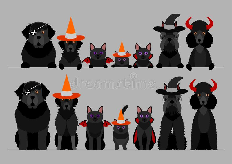 Black halloween large dogs and cats in a row royalty free illustration