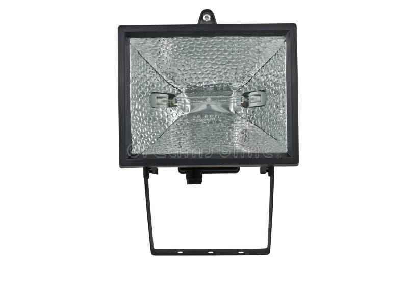 Black halogen lantern. On white background royalty free stock image