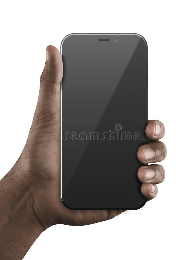 Black Hand With Blank Generic Smartphone. A black hand holding a generic blank smartphone in a demonstrating gesture on an isolated white background stock images