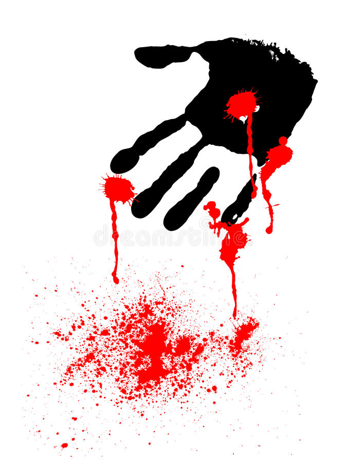 Black hand with blood drops. Abstract black print of hand with red blood drops vector illustration
