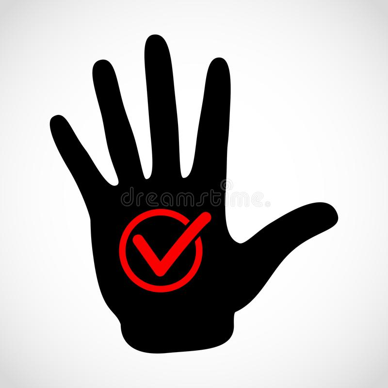 Black hand and check list button icon vector concept. Check mark royalty free illustration