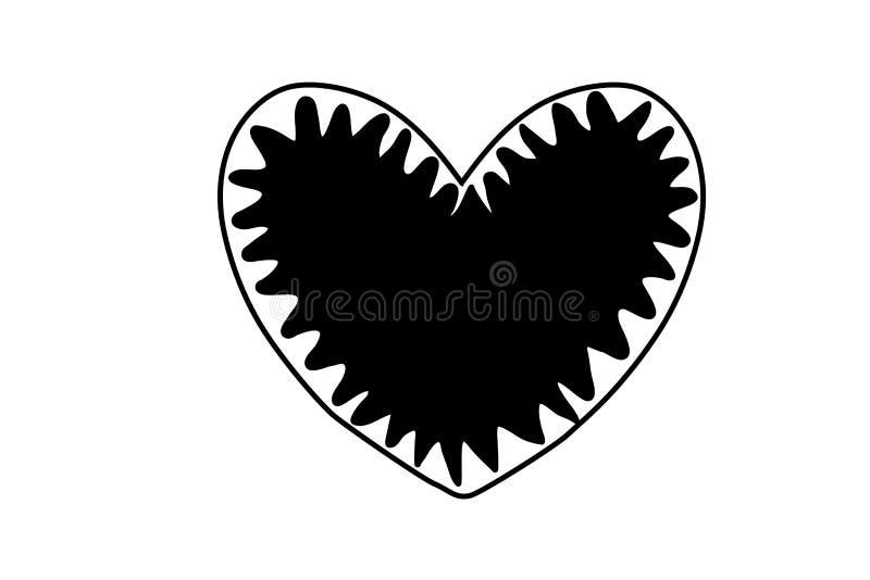 Black hand drawn heart on white background . Design element for Valentines day . Illustration. Drawing, retro, shape, logo, big, creative, graphic, passion stock illustration