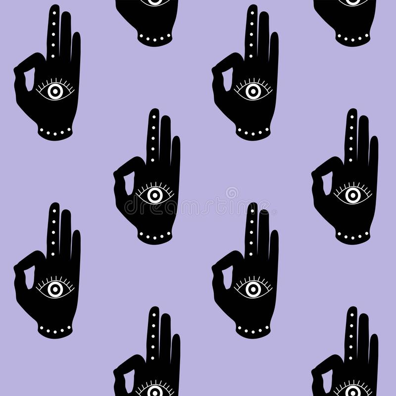 Black hand with eye mudra on a purple background buddhism hinduism symbol pattern seamless yoga India meditation zen hipster stock image