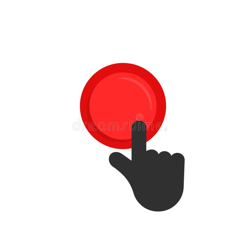 Black hand pushing on red button vector illustration