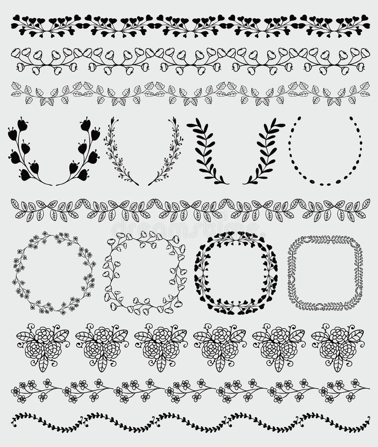 Black Hand Sketched Seamless Borders, Frames Stock Vector ...