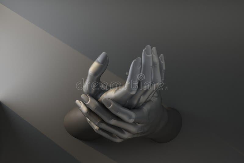 Black hand supports self hand vector illustration