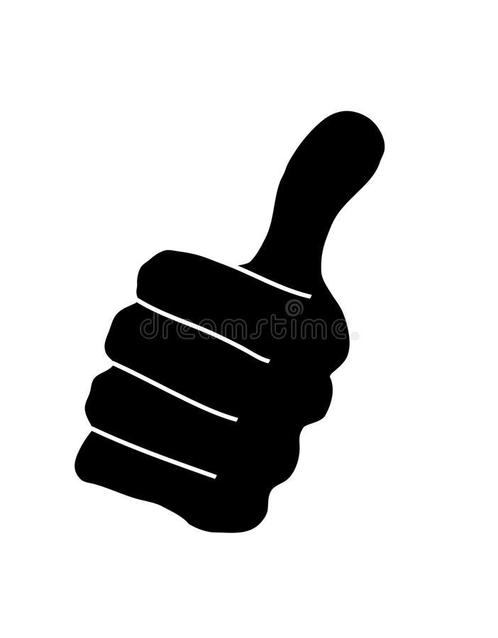 Black hand with up thumb. On white backgrounds vector illustration