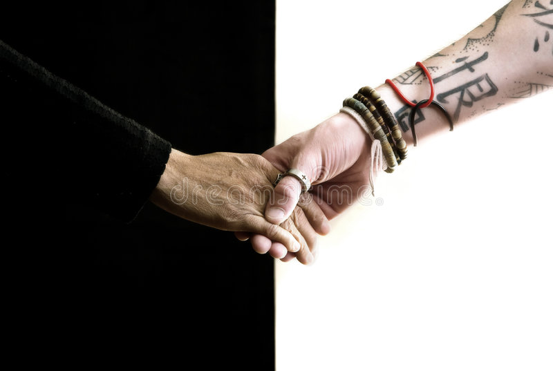 Black hand white hand royalty free stock images
