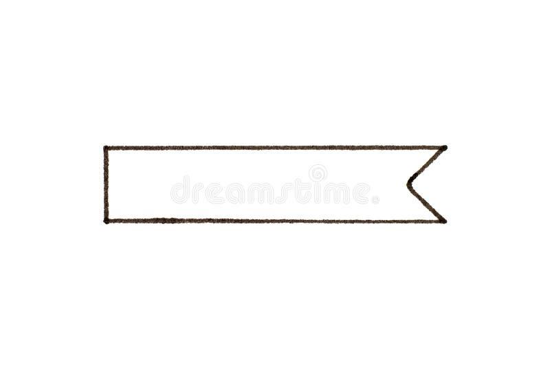 Black handdrawing of ribbon banner on white paper background 库存例证
