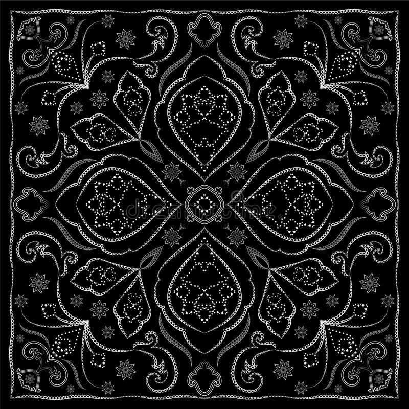 Black handkerchief with white ornament royalty free illustration