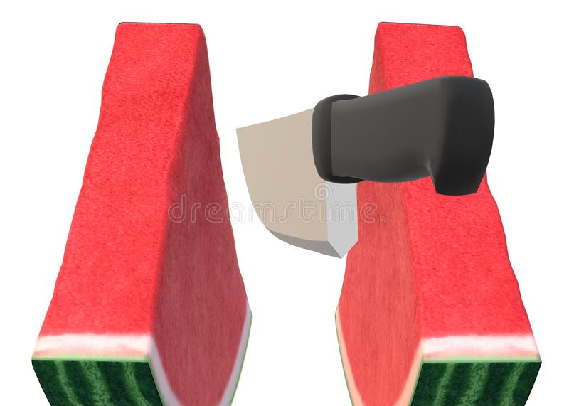 A black handle kitchen knife slicing through two slices of water melon stock images
