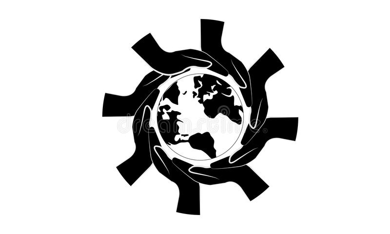 Black Hands Around of World and World Help Concept. Teamwork Concept and support world - Hands Join Teamwork Symbol and world map - Helping Sign Logo Symbol vector illustration