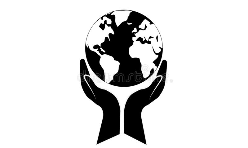 Black Hands Around of World and World Help Concept. Teamwork Concept and support world - Hands Join Teamwork Symbol and world map - Helping Sign Logo Symbol royalty free illustration
