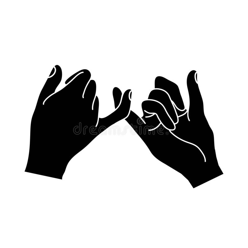 Black hands making a promise outline. Vector illustration, Flat and minimal vector eps file With Copy Space vector illustration