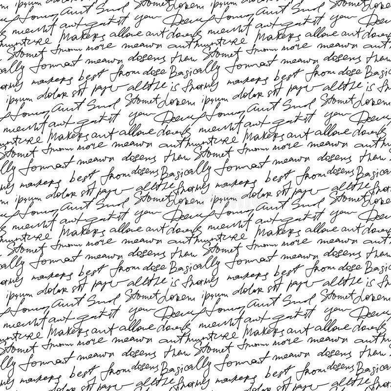 Black handwritten text on white vector repetition background. Poetry type seamless decor. Calligraphy write type text, sketch manuscript illustration royalty free illustration