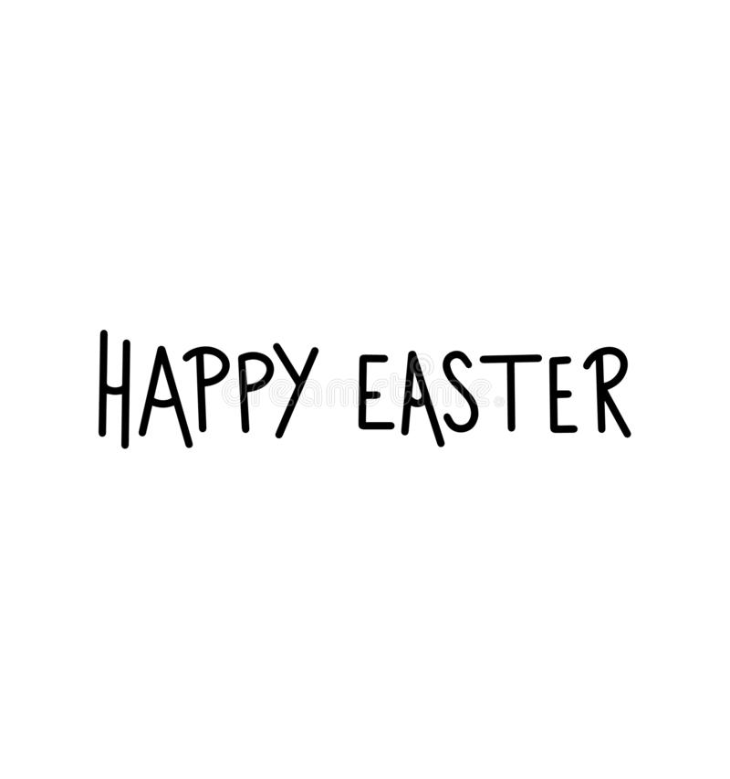 Black happy easter day simple lettering. Calligraphy postcard or poster graphic design lettering element. Handwritten calligraphy stock illustration
