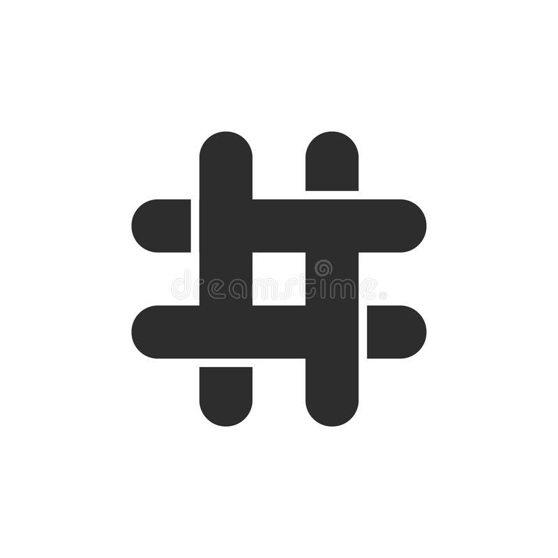 Black hashtag icon with cut ends royalty free illustration