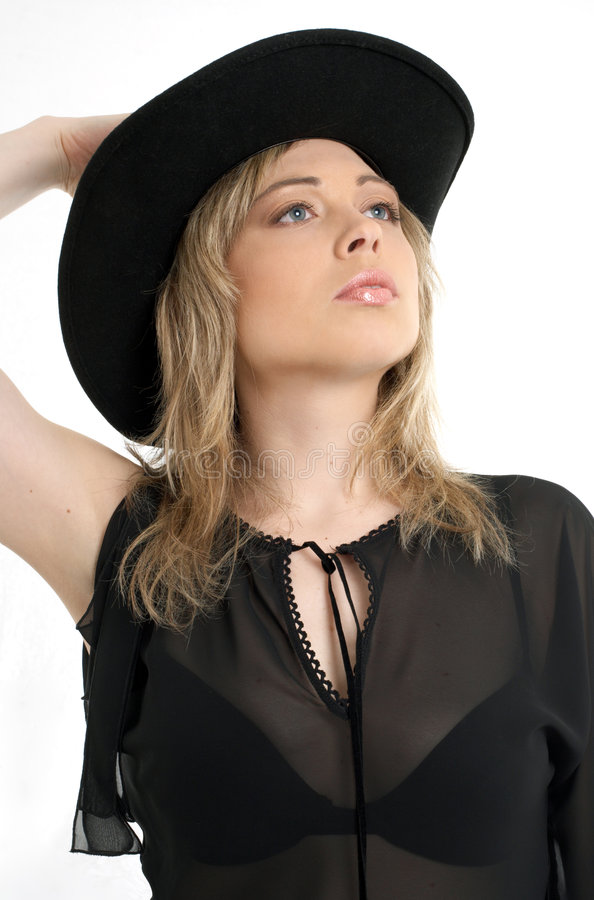 Download Black hat stock image. Image of caucasian, cool, beauty - 1020893