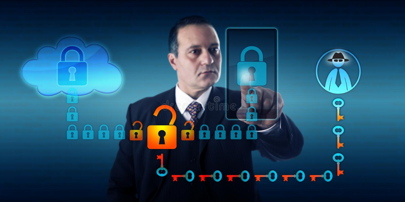 Black Hat Hacker Intercepting Smart Phone. Businessman synchronizing a mobile device with cloud storage. A black hat hacker is intercepting this connection royalty free stock photo