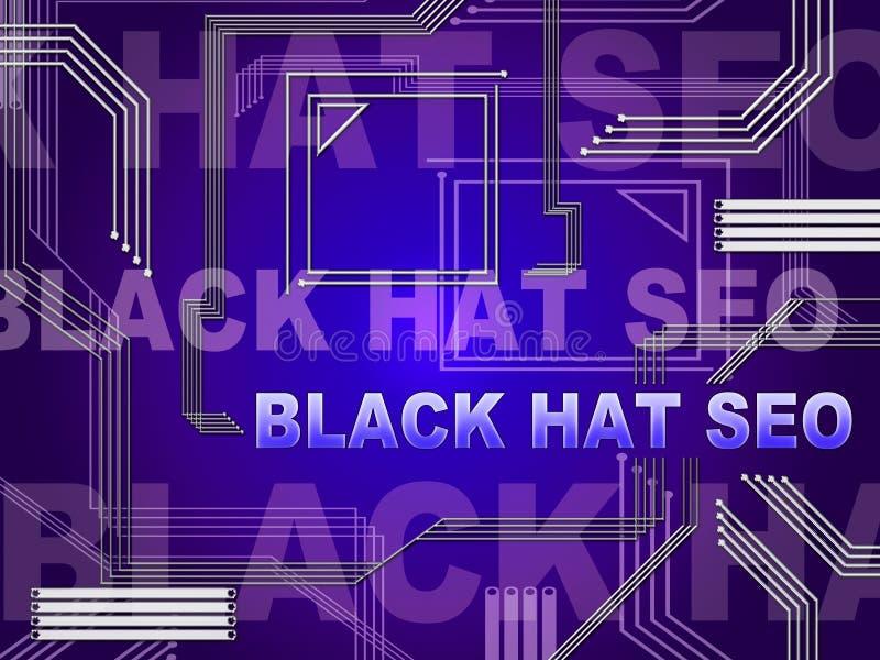 Black Hat Seo Website Optimization 2d Illustration Stock