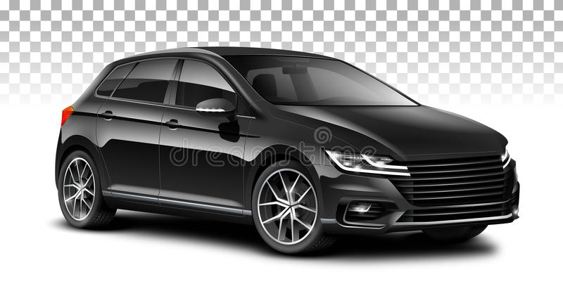 Black hatchback generic car. City car with glossy surface on white background. stock illustration