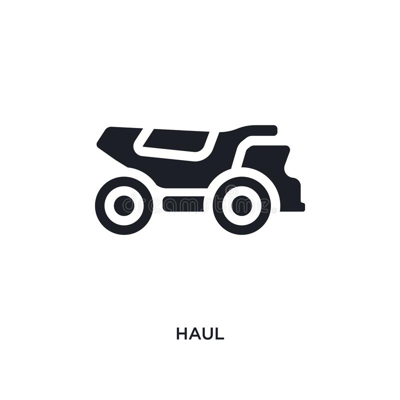 Black haul isolated vector icon. simple element illustration from transportation concept vector icons. haul editable logo symbol. Design on white background vector illustration
