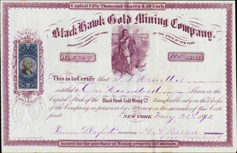 Download 1872 Black Hawk Gold Mining Company Stock Certificate - Colorado Territory Editorial Stock Photo - Image: 34177073