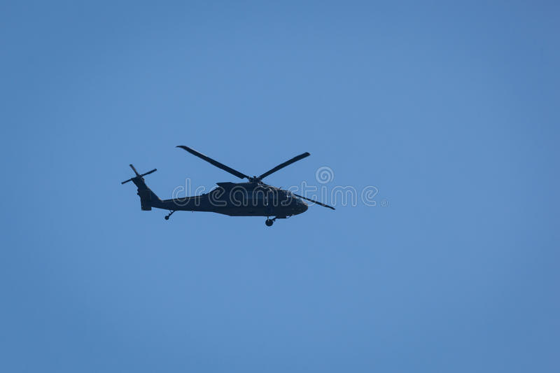 Black Hawk Helicopter. STATEN ISLAND, NEW YORK - MARCH 1: A United States military helicopter flies over Fort Wadsworth on March 1, 2016 stock images