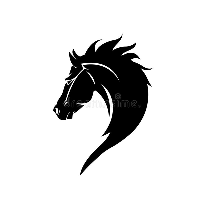 Black head horse icon vector in modern flat style for web vector illustration