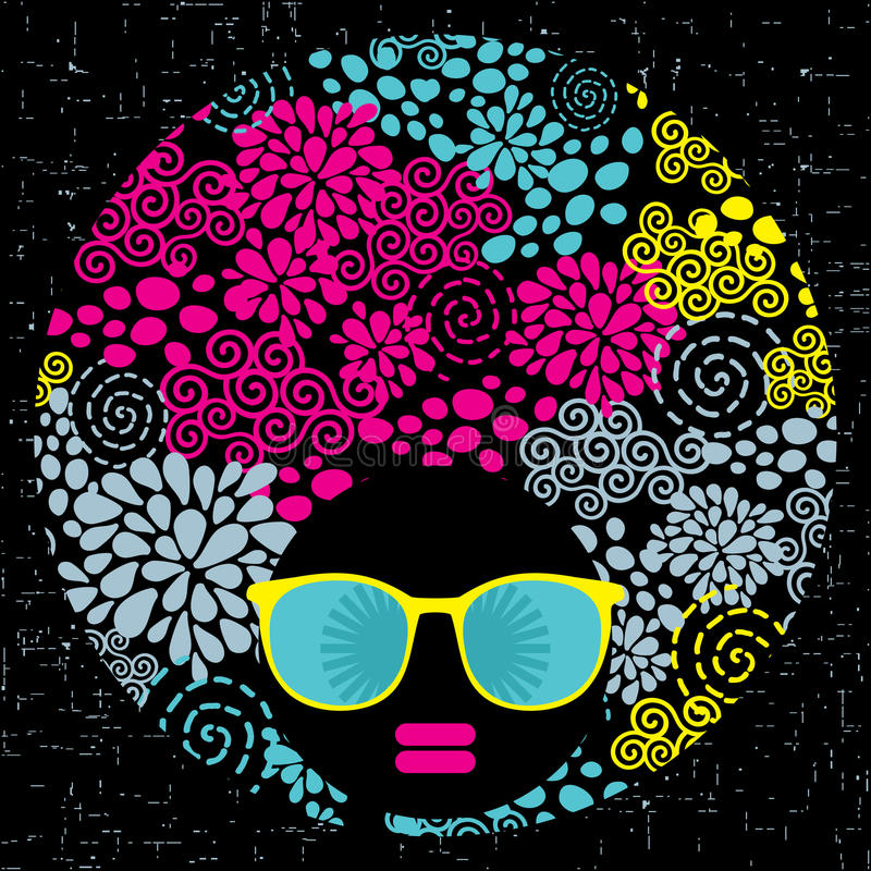 Download Black Head Woman With Strange Pattern Hair. Stock Photos - Image: 32900563
