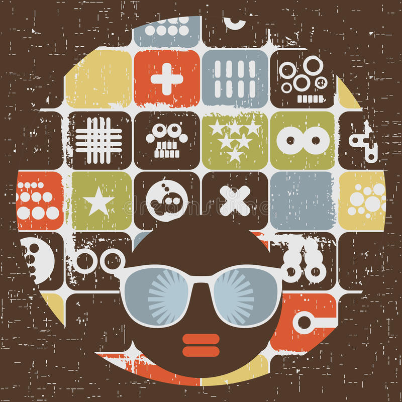Download Black Head Woman With Strange Pattern Hair. Stock Vector - Image: 32904104