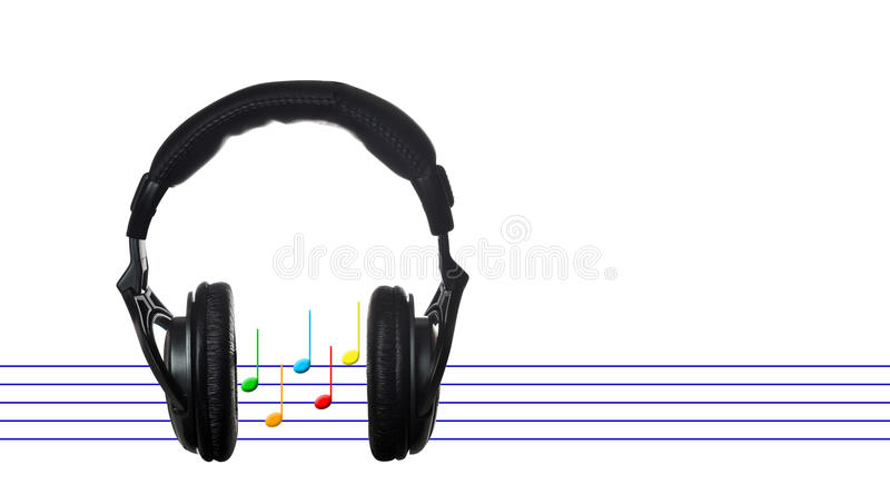 Download Black Headphones With Musical Score Stock Illustration - Illustration of white, notation: 23926251