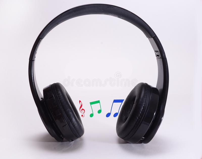 Black headset used for enjoying a wide variety of music and digital entertainment with wifi . stock photos