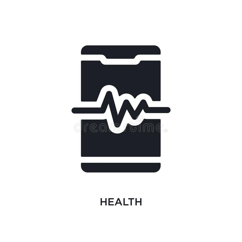 Black health isolated vector icon. simple element illustration from mobile app concept vector icons. health editable logo symbol. Design on white background royalty free illustration