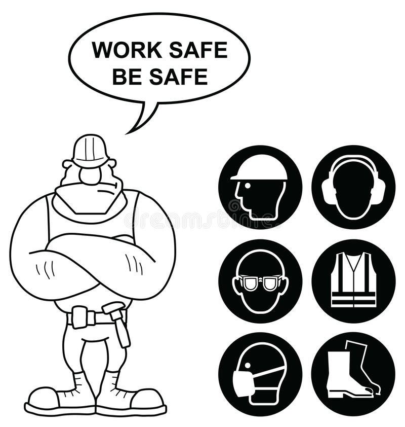 Black Health and Safety Signs. Black mandatory construction manufacturing and engineering health and safety signs to current British Standards with work safe be royalty free illustration