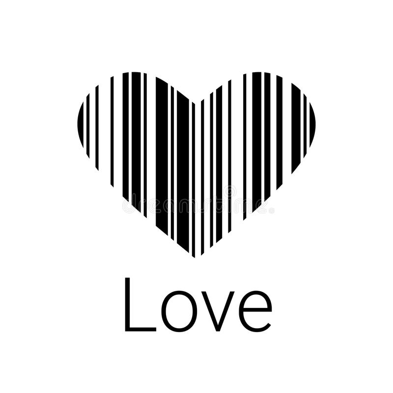 Black Heart bar code, icons and element for valentines royalty free illustration