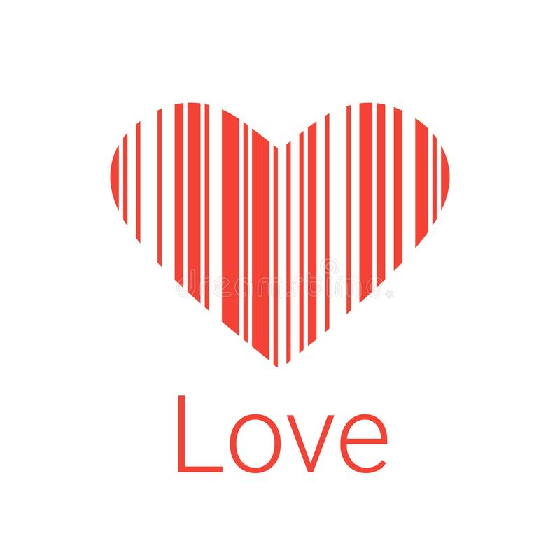 Black Heart bar code, icons and element for valentines. Red Heart bar code, icons and element for valentines and wedding stock illustration