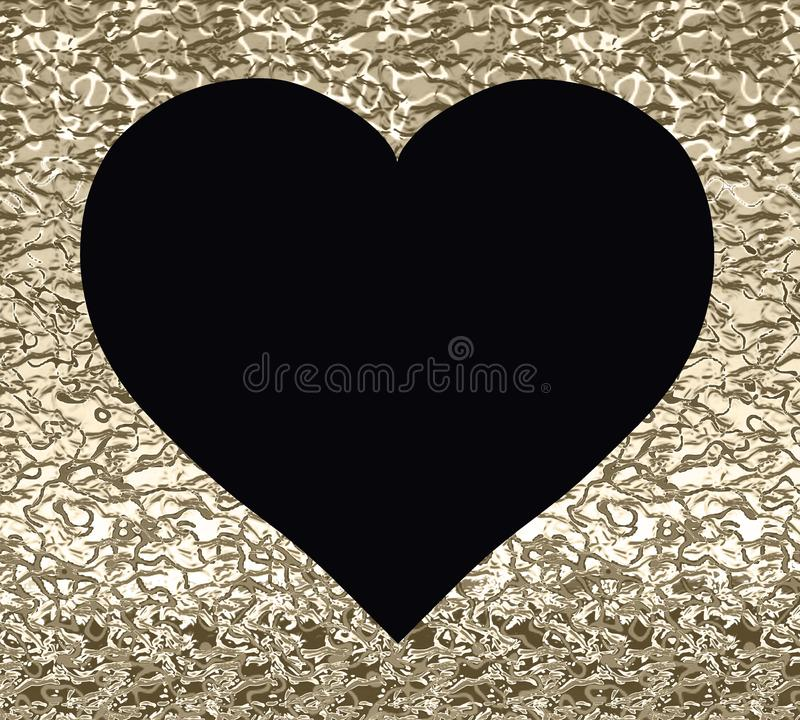 Black heart on a gold background with a texture stock illustration