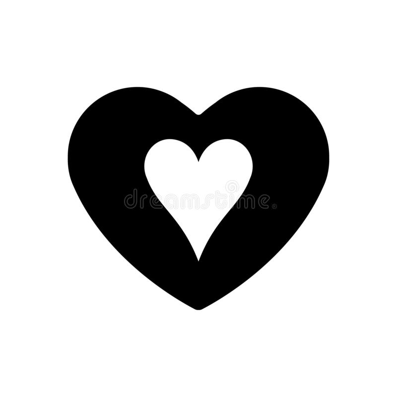 Black Heart hearts suit icon. A symbol of love. Valentine s day with sign playing card suits. Flat style design, logo. Frame stock illustration