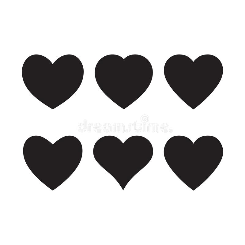 Black heart icon, love icon isolated set vector illustration