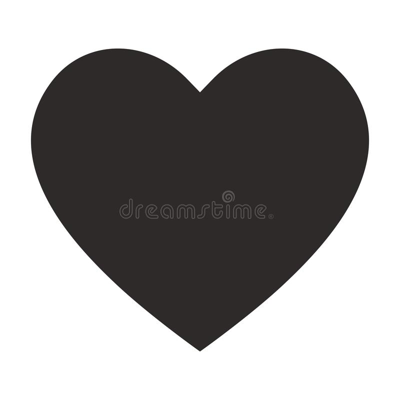Black heart icon, love icon stock illustration