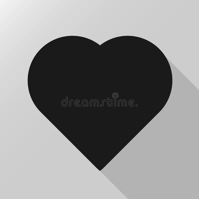 Black heart icon. Silhouette vector illustration isolated on gray background stock illustration