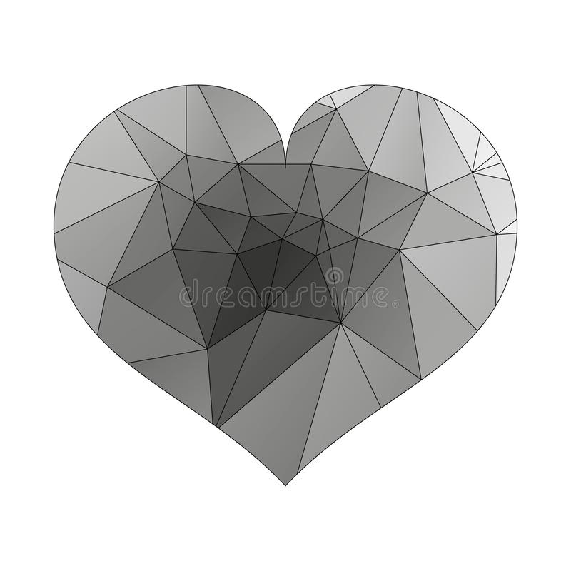 Black heart icon. Simple triangular sign of the heart, isolated on white background. Symbol of the heart. Symbol of the love. royalty free illustration